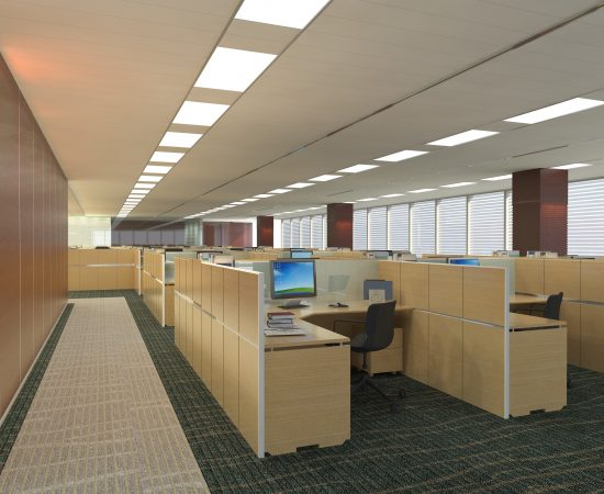 Three-dimensional visualization project of the office Interior.